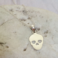 Sterling Silver Sugar Skull Necklace Mexican Calaveras Day Dead Pendant Ladies
