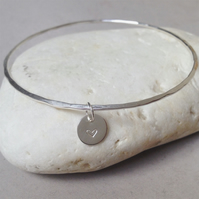 Silver Heart Tag Bangle - Solid Sterling 925 Circle Disc Stamp Charm Bracelet