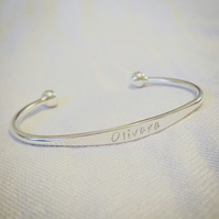 Personalised Childs Bracelet Sterling Silver 925 Baby Girl Boy Name Christening