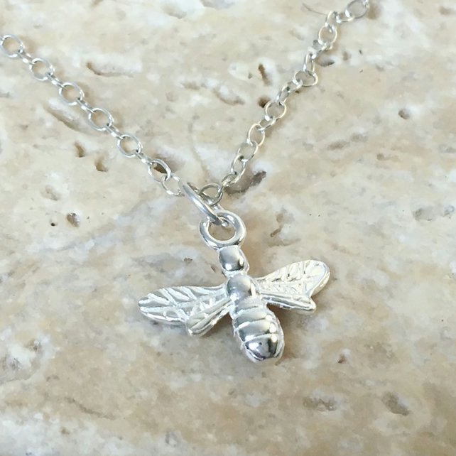 da2056c9e9daa Silver Bee Necklace - Solid Sterling 925 Worker Bee Honey Bumble Queen Bee  Charm