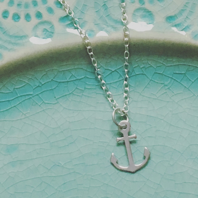 Silver Anchor Necklace - Sterling 925 Small Anchor Charm Nautical Travel Sailor