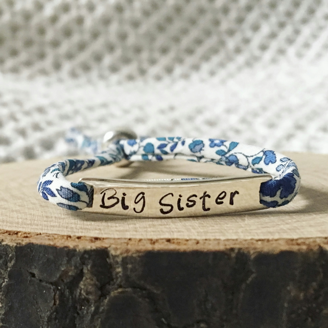 Childs Personalised Name Bracelet - Sterling Silver 925 Liberty London Fabric