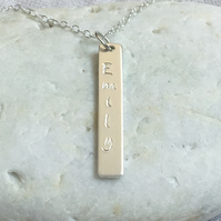Personalised Silver Necklace - Sterling 925 Initial Name Word Bar Identity Tag