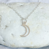 Silver Moon Necklace - Solid Sterling 925 Minimalist Crescent Luna Boho Charm