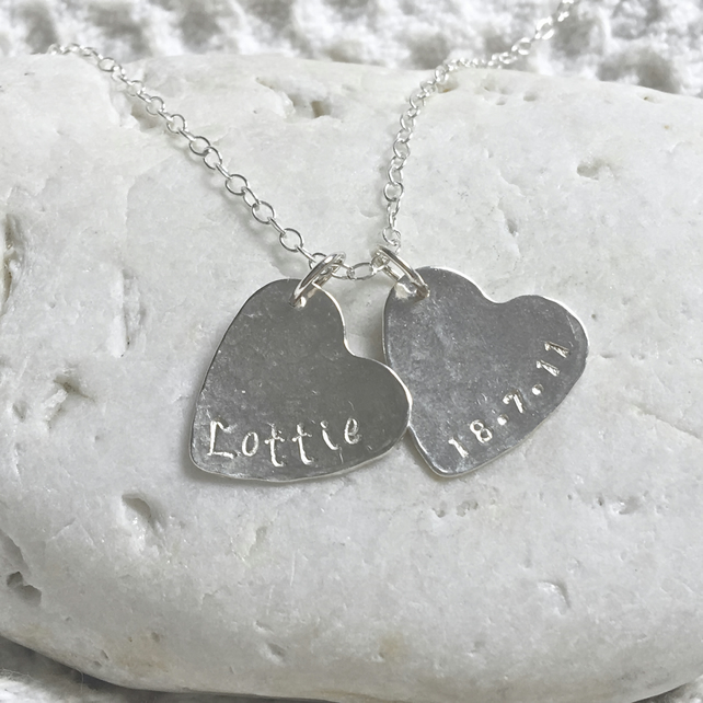 Personalised Silver Heart Necklace Solid Sterling 925 Name Word Pendant Handmade