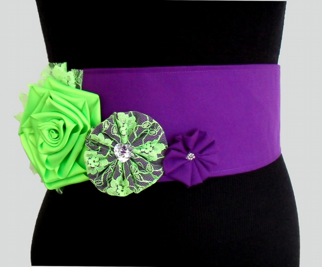 Purple Fabric Belt with Neon Green Flowers and Clear and Silver Button and Beads