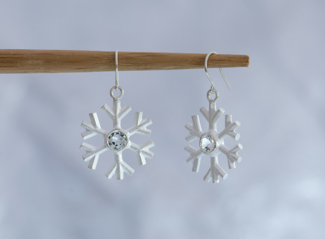 Snowflake earrings - White Topaz Earrings - Sterling Silver - Free Shipping