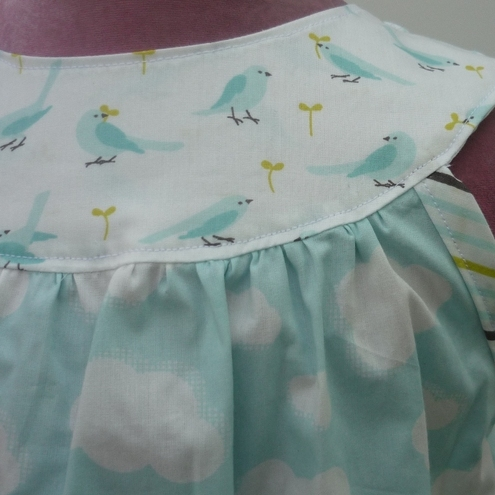Organic Cotton Birds and Clouds Summer Dress Round Neck Yoke Style - sizes 12M 18M 24M 2T 3T 4T 5T 6T