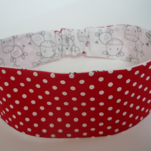 Reversible headband Little Moo Cows and Red Polka Dots sizes 6M 12M 18M 24M 2 3 4 5 6 7 8 9 10 11
