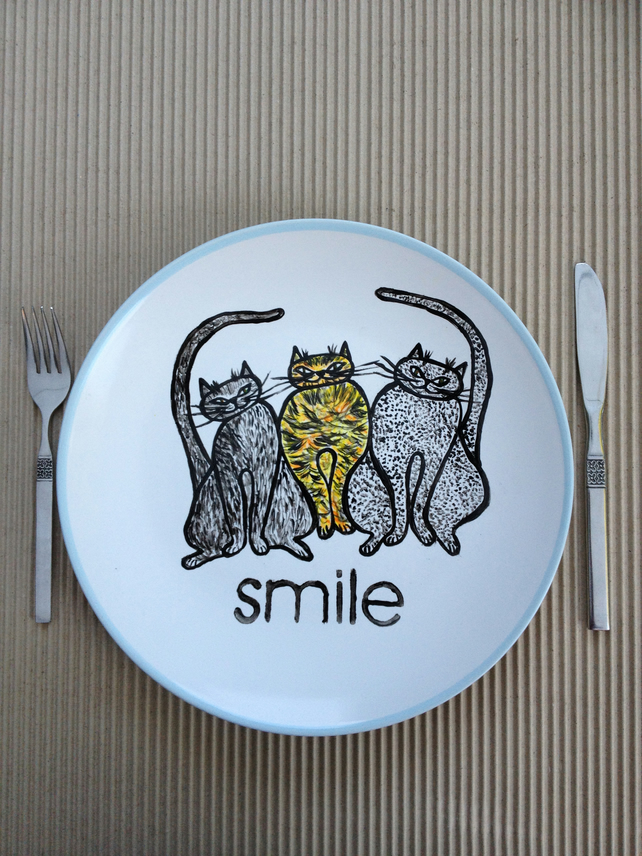 Hand Painted Plate-Cats-hand painted ceramic dinner plate.