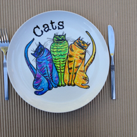 Hand Painted Plate-Cats- hand painted ceramic dinner plate.