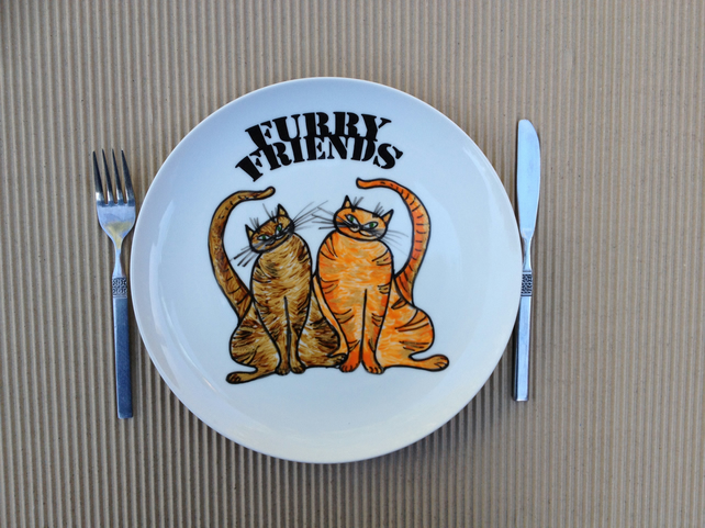 Hand Painted Plate - Furry Friends - ceramic dinner plate.