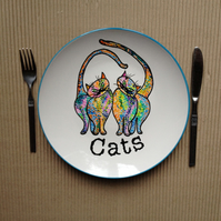 Hand painted plate-cats-ceramic dinner plate hand painted.
