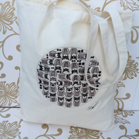 Tote Bag-cotton tote bag-Owl's-fabric tote bag- long handle tote bag.