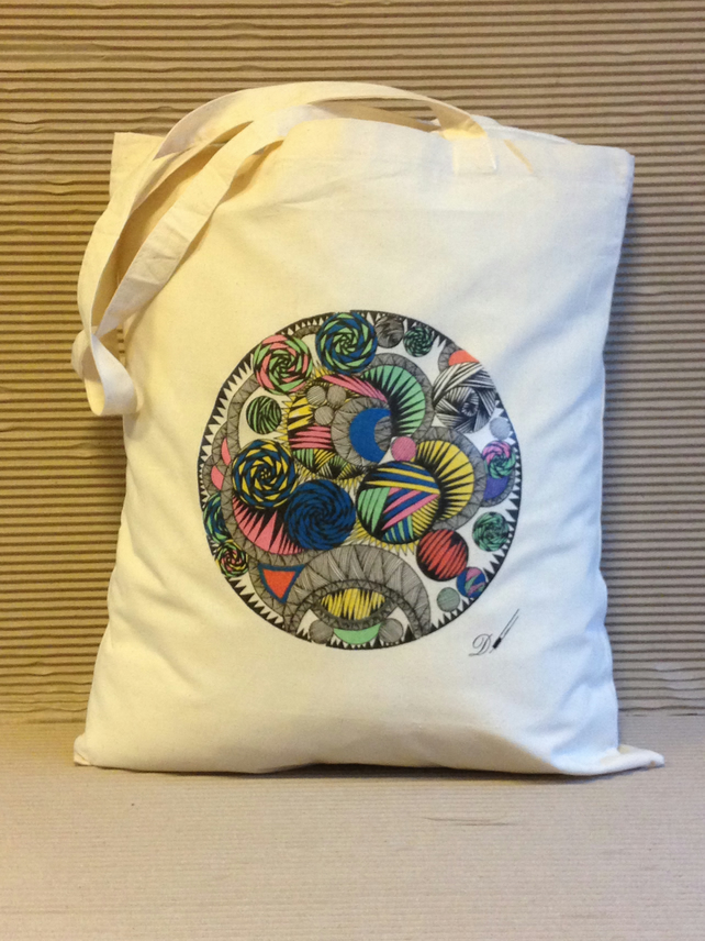 Tote bag - cotton tote bag - printed tote bag - original drawing design .