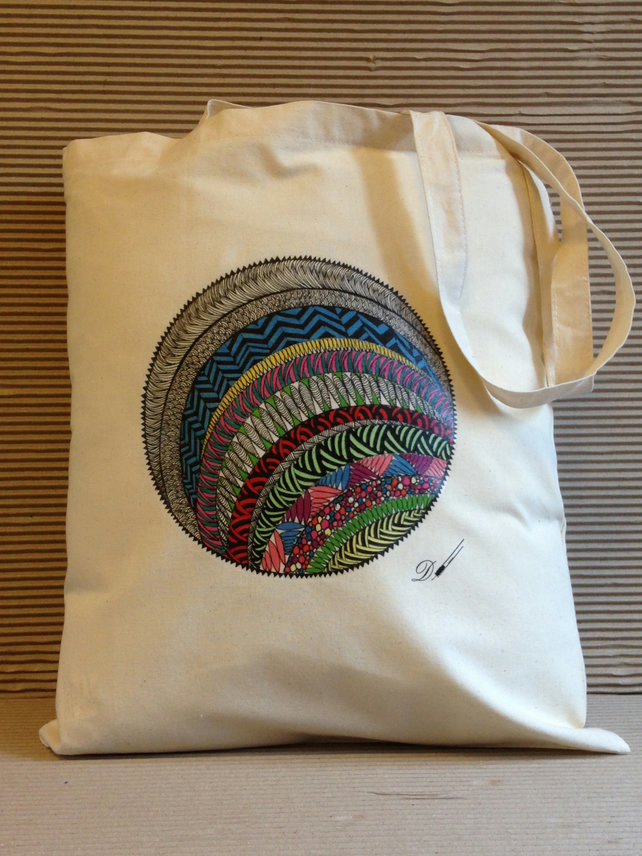 Tote bag - cotton tote bag - printed tote bag-  from an original hand drawing.