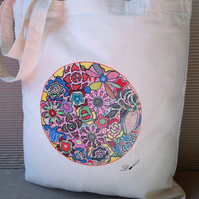 Tote Bag-cotton tote bag-printed tote bag- long handles.