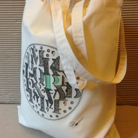 Tote bag - cotton tote bag - printed tote bag- produced from a hand drawing.