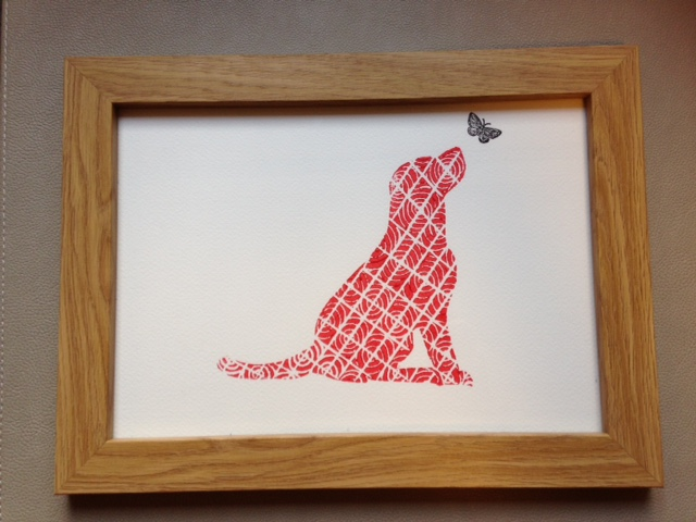 Limited Edition Lino Print-Titled- Float like a butterfy - Dog linoleum print.