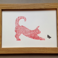 Limited Edition Lino Print-Titled Flutterby -Cat print on acid free paper.