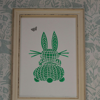 Limited Edition Lino Print-Titled - Bunny- printed on acid free paper.