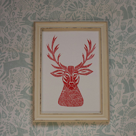 Limited Edition Lino Print-Titled - Stag- printed on acid free paper.