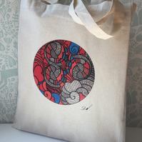 Tote Bag-cotton bag-printed- long handles.