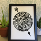 Limited Edition Lino print - sphere and arrow - acid free paper
