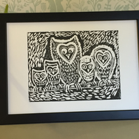 Limited Edition Lino Print-Titled- Night Watch-Owl print on acid free paper.