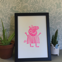 Limited Edition Lino Print-Titled -Peppa Pinky pig- printed on acid free paper.