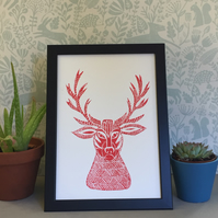 Limited Edition Lino Print- Stag head print- printed on acid free paper.