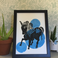Limited Edition Lino Print-Unicorn print- printed on acid free paper.