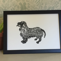 Limited Edition Lino Print-Dog print- Cocker spaniel Dog lino print.