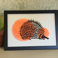 Limited Edition Lino Print-Hedgehog print on acid free paper.