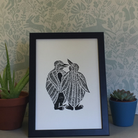 Limited Edition Lino print - Penguin print on acid free paper.