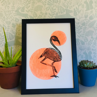 Limited Edition Lino Print - Flamingo colour pop print- on acid free paper.
