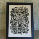 Limited Edition Lino Print-Titled - Arial view- printed on acid free paper.