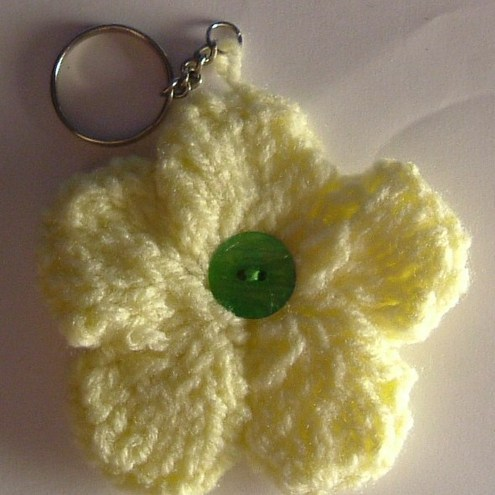 Sunshine Yellow Flower Keyring/Bag Charm With Green Button