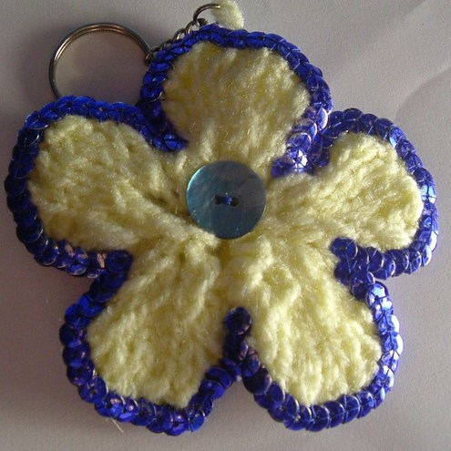 Sunshine Yellow Flower Keyring/Bag Charm with Blue Sequins
