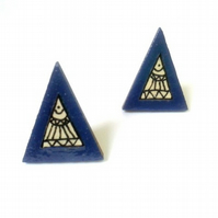 Navy Blue Illustrated Paper Wooden Triangle Post Stud Earrings