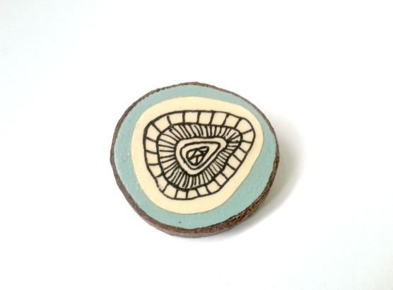 Hand Illustrated Duck Egg Blue Fossil Inspired Brooch