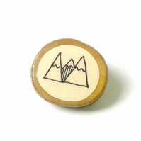 Illustrated Mountain Wooden Circle Ring
