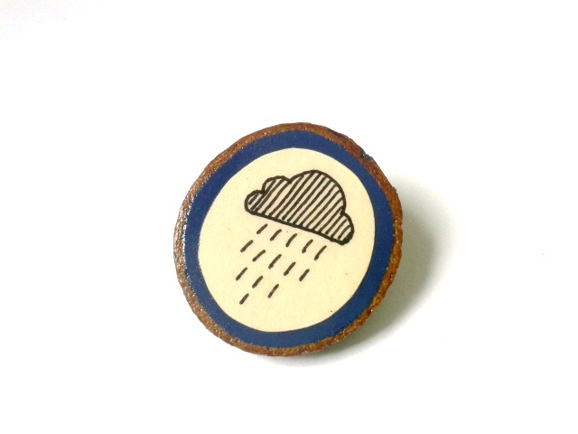 Hand Illustrated Rain Cloud Navy Blue Wooden Brooch