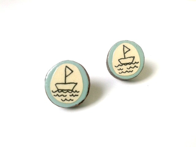 Pale Blue Sail Boat Illustrated Stud Earrings