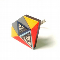 Mustard Yellow, Red and Grey Paper Illustration Wooden Crystal Diamond Ring