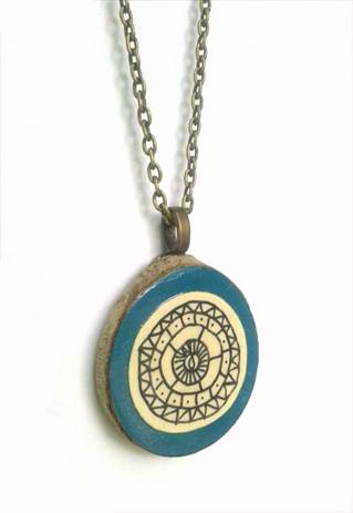 Hand Illustrated Geometric Aztec Wooden Necklace