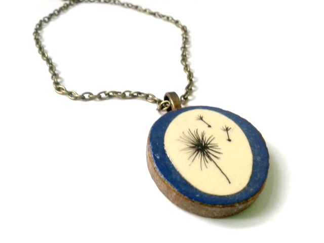 Dandelion Blowing In The Wind Hand Illustrated Paper Natural Tree Bark Necklace