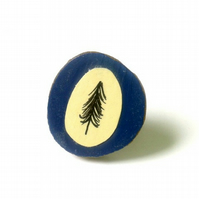 Navy Blue Illustrated Tree Wooden Ring