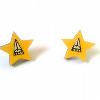 Illustrated Yellow Star Earrings