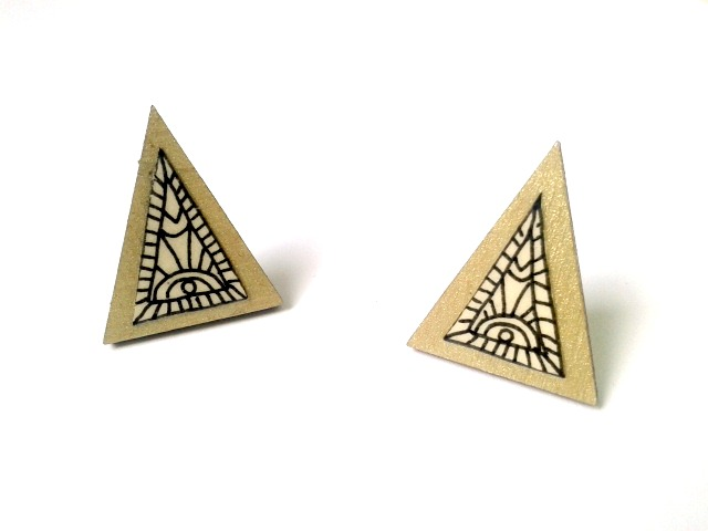 Gold Illustrated Geometric Pattern Triangle Stud Earrings